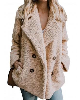 Plush Button Pocket Turn Down Collor Coat For Women