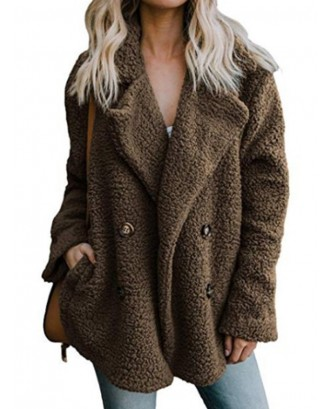 Plush Button Pocket Turn Down Collor Coat For Women