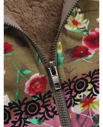 Patchwork Random Floral Print Hooded Long Sleeve Vintage Coats