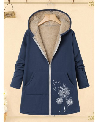 Casual Print Pockets Zipper Long Sleeve Hooded Coat