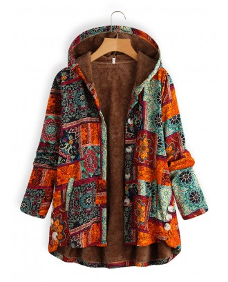 Side Button Ethnic Print Hooded Long Sleeve Vintage Coat