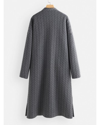 Casual Jacquard Stand Collar Button Long Coat