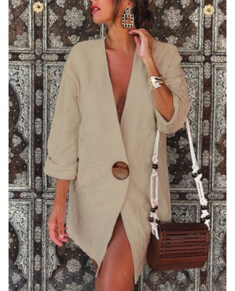 Casual Solid Color One Button Long Sleeve Suit Coat