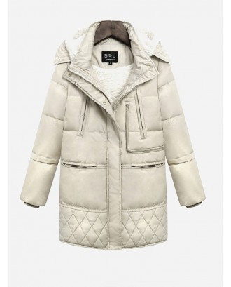 Lamb Cashmere Thick Solid Color Long Sleeve Medium Long Coat