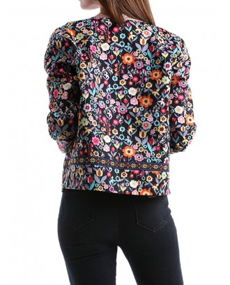 Ethnic Floral Print Long Sleeve Jacket
