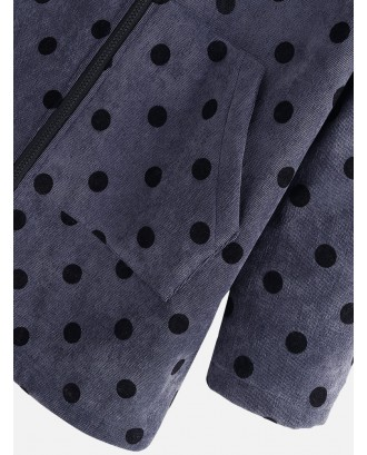 Quilted Fleece Polka Dots Corduroy Hooded Coat