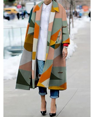 Chic Muticolor Geometric Print Split Thin Coat