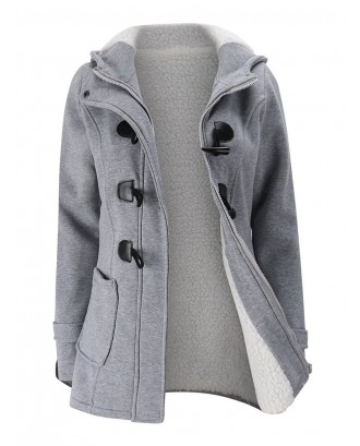 Women Horn Buttons Long Sleeve Hooded Thicken Coat