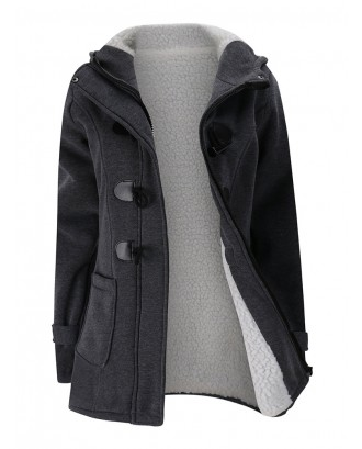 Women Horn Buttons Long Sleeve Hooded Thicken Coat
