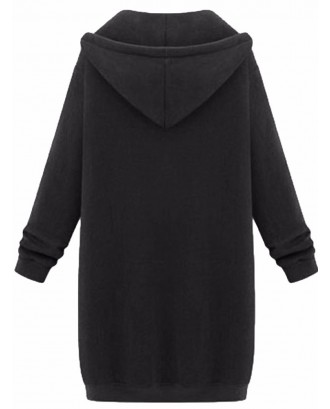 Casual Women Long Sleeve Zipper Hooded Pockets Coat