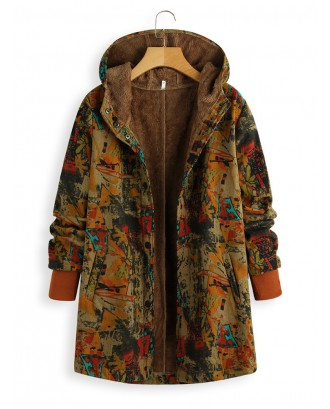 Vintage Print Button Hooded Coat