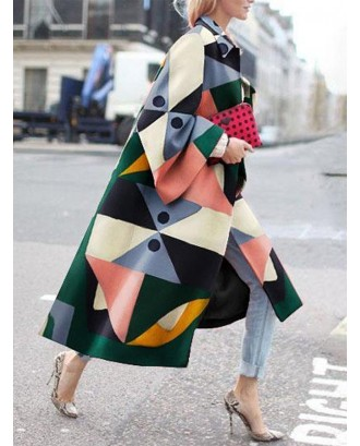Chic Muticolor Geometric Print Turn-down Collar Coat