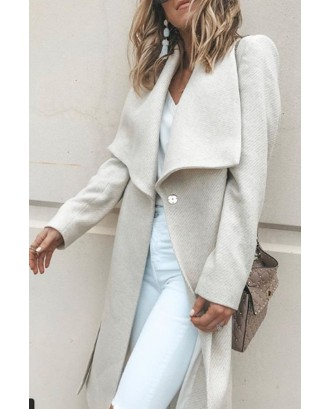 Solid Color Turn-down Collar Long Coat For Women
