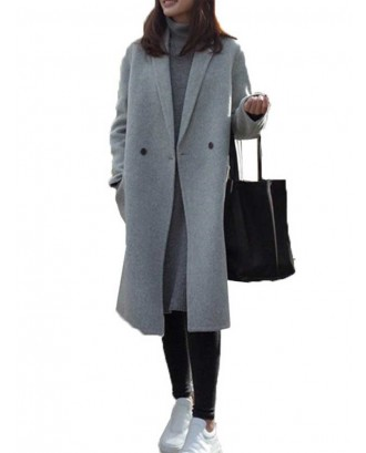 Notch Collar Solid Color Loose Long Coat