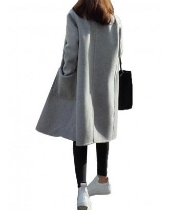 Notch Collar Solid Color Loose Long Coat
