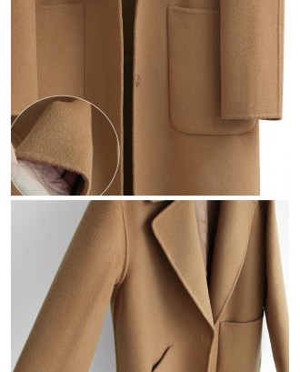 Casual Solid Color Turn-Down Collar Button Fly Women Coats