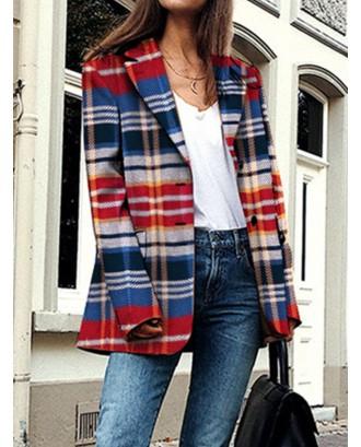 Multicolor Plaid Print Long Sleeve Lapel Jacket For Women