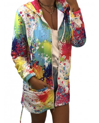 Hooded Multi-color Print Long Sleeve Thin Coat