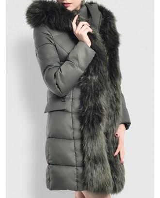 Faux Fur Hooded Zipper Up Down Coat