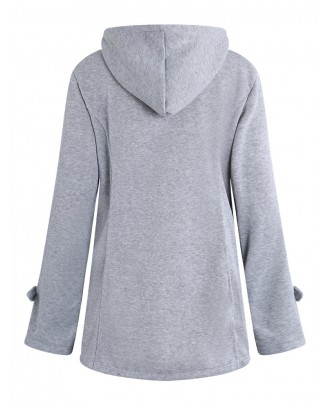 Horn Buttons Long Sleeve Hooded Thicken Coat
