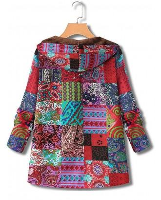 Hooded Ethnic Print Long Sleeve Fleece Vintage Coat