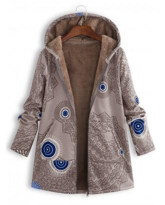 Ethnic Print Fleece Zipper Loose Hooded Coat