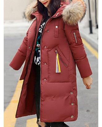Casual Faux Fur Hooded Long Down Coat