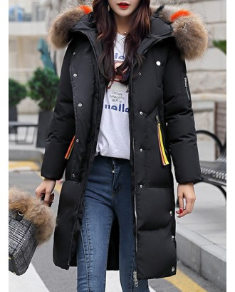 Casual Faux Fur Hooded Long Down Coat