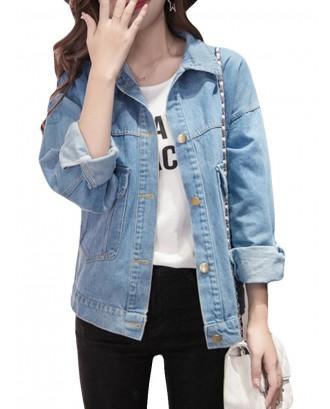 Long Sleeve Stretch Short Denim Jacket
