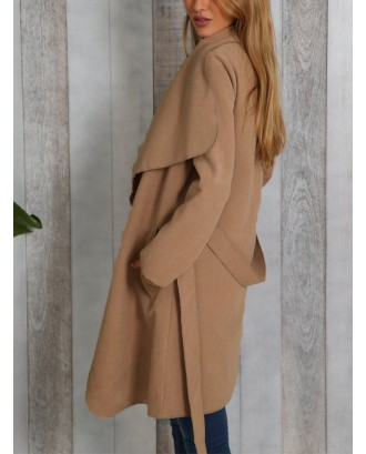 Solid Color Turn-down Collar Loose Coat For Women