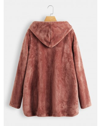 Fleece Side Button Solid Color Hooded Coat For Women
