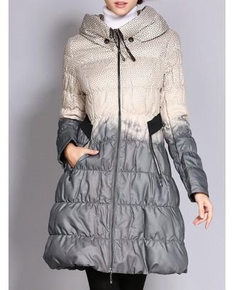 Elegant Polka Dot Zipper Up Long Coat