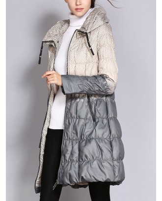 Elegant Polka Dot Zipper Up Long Coat