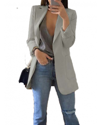 Simple Solid Color Long Sleeve Button Thin Coat