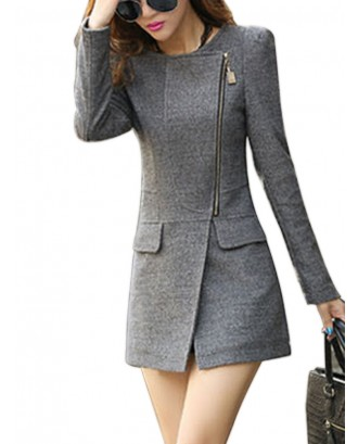 Solid Color Zipped Mid-length Slim Suit Jacket