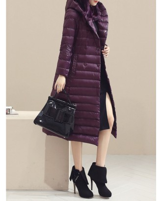 Casual Pure Color Hooded Long Sleeve Women Down Coats