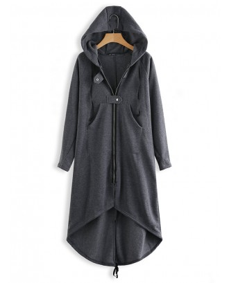 Women Zipper Long Sleeve Irregular Hem Hooded Coat