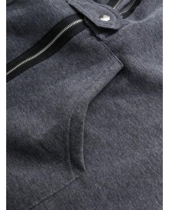 Women Zipper Long Sleeve Irregular Hem Hooded Coat