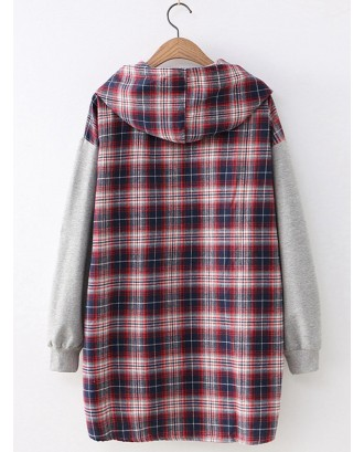 Letter Embroidered Plaid Patchwork Long Sleeve Hoodie For Women