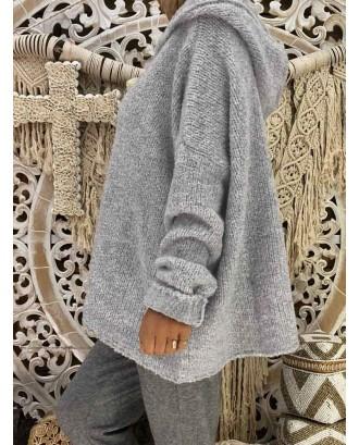 Casual Loose Solid Color Hooded Sweatshirt