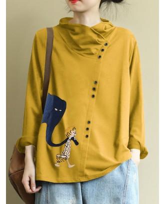 Casual Print Button Turtleneck Overhead Sweatshirt