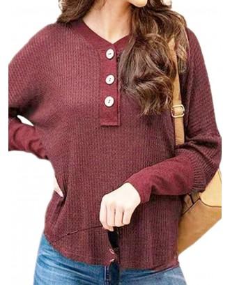 Casual Long Sleeve V-neck Loose Button Sweatshirt