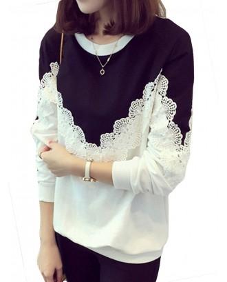 Flower Lace Patchwork O-neck Cotton Sweatshirt