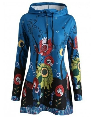 Cartoon Flower Print Long Sleeve Hoodie For Women