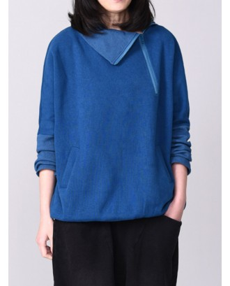 Casual Solid Color Side Zipper Turtleneck Pockets Sweatshirt