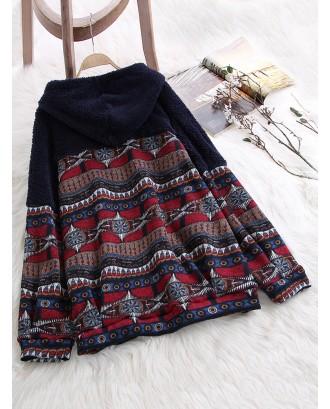 Ethnic Print Patchwork Pockets Fleece Hoodie For Women