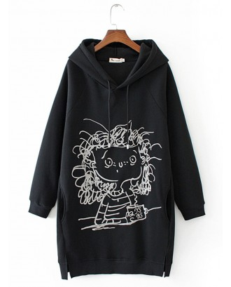 Cartoon Girl Print Long Sleeve Splited Hoodie For Women