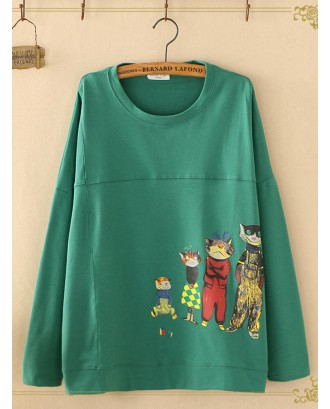 Cartoon Print Loose Long Sleeve Casual Sweatshirts