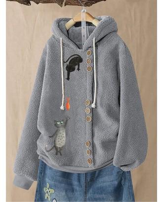 Fleece Cartoon Print Long Sleeve Button Hoodie For Women