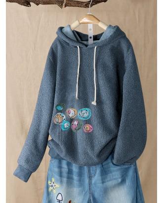 Flower Print Fleece Long Sleeve Casual Hoodie For Women